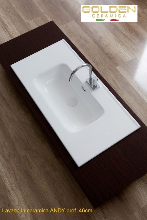 Lavabo in ceramica  ANDY 120 singola vasca profondità 46