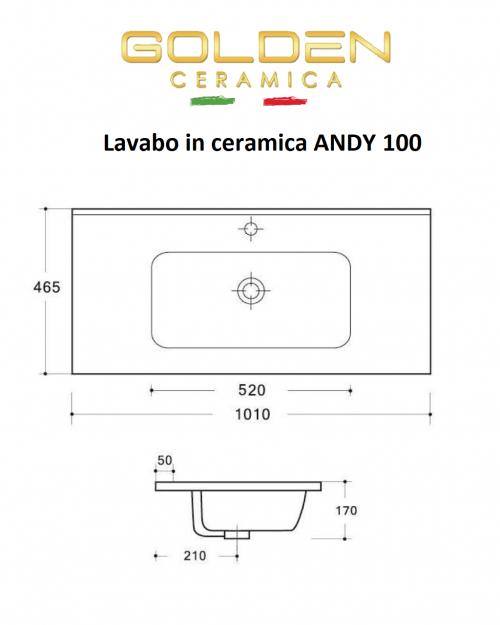 Lavabo in ceramica  ANDY 100  profondità 46