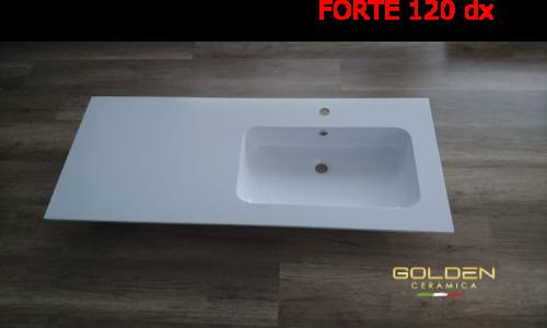 Lavabo in teck-stone  FORTE 120 vasca DX  prof. 51