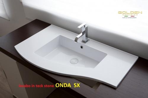 Lavabo in teck-stone ONDA vasca  SX