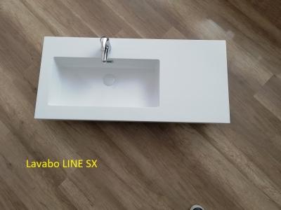 Lavabo in teck-stone LINE cm 100 vasca sx