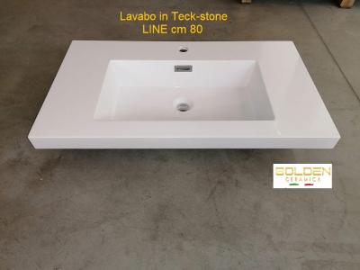 Lavabo in teck-stone LINE cm 80