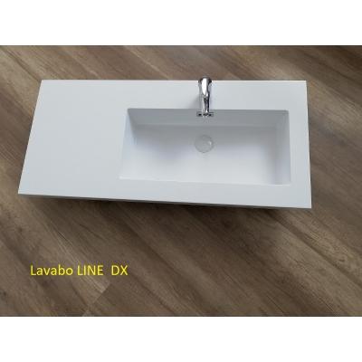 Lavabo in teck-stone LINE cm 100 vasca dx