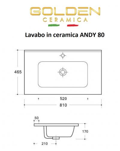 Lavabo in ceramica  ANDY 80  profondità 46