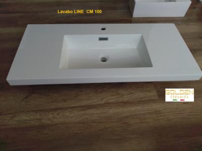 Lavabo in teck-stone LINE cm 100